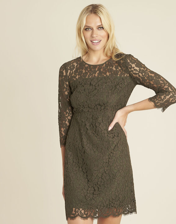 Nadine straight dress in khaki lace (1) - Maison 123