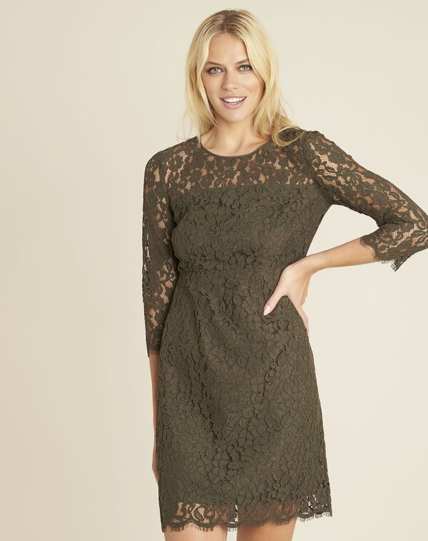 Nadine straight dress in khaki lace (1) - 1-2-3