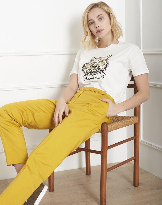Ecrufarbenes T-Shirt mit Stickerei Tiger Primitif PhotoZ | 1-2-3
