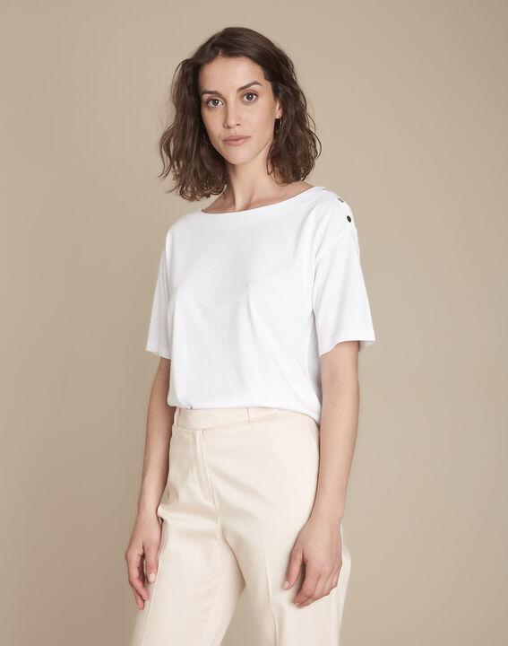Tee-shirt blanc col bateau Calvi PhotoZ | 1-2-3