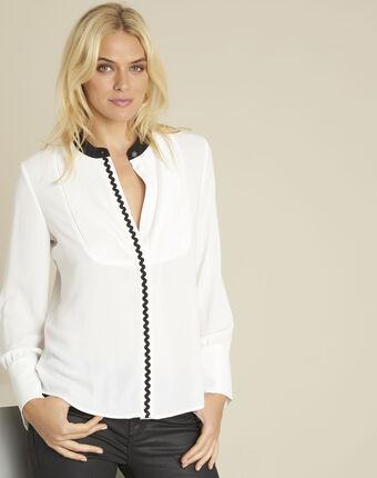 Ecrufarbene bluse mit plastron und schrägband clea ecru.
