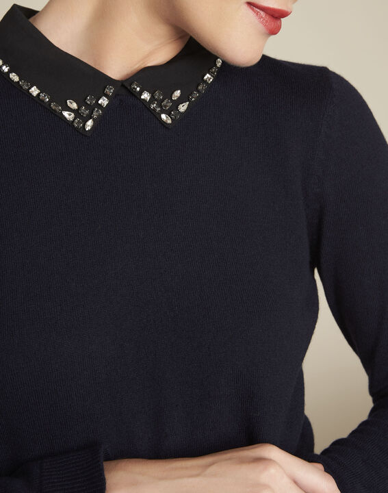 Bijoux navy wool pullover with Peter Pan jewel collar (3) - 1-2-3