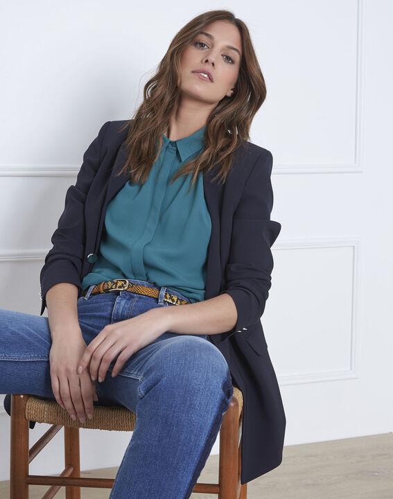 8e0536d06adec5 Valerie straight-cut green blouse - Maison Cent Vingt-Trois