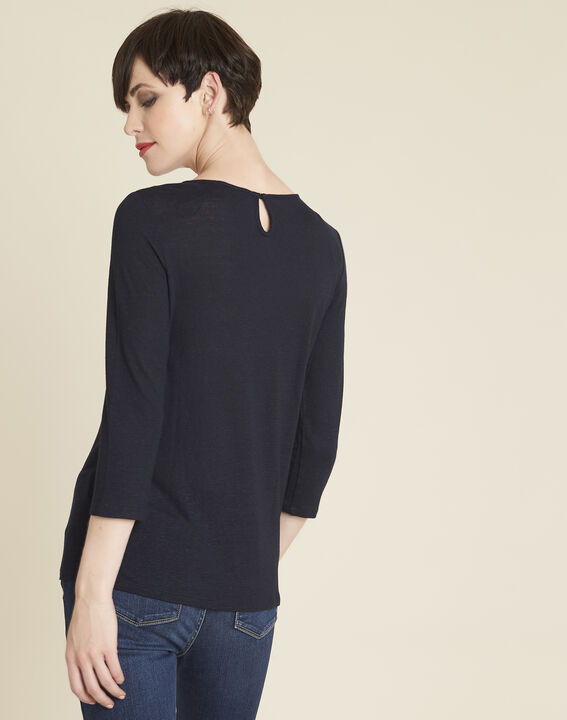 Gaiete navy T-shirt with lace neckline (4) - 1-2-3