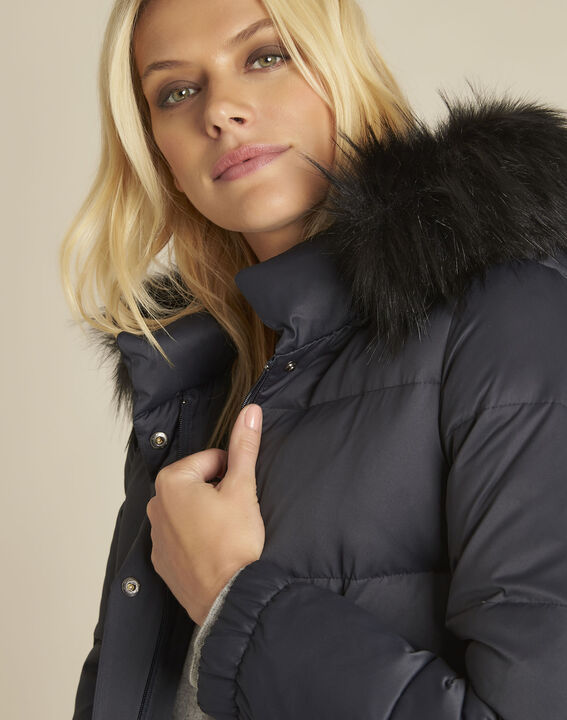 Peggy navy faux fur hooded down jacket (3) - 1-2-3