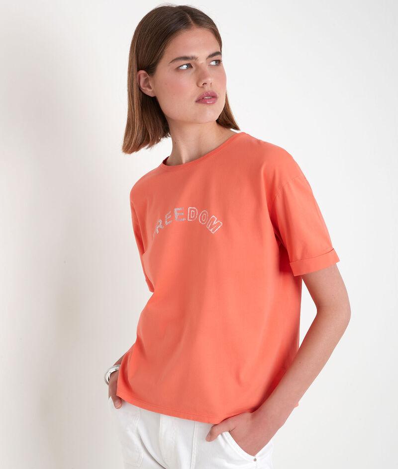 Tee-shirt en coton biologique à message corail Etincelle PhotoZ | 1-2-3