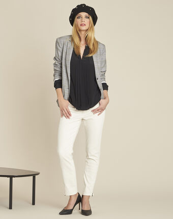 Celeste pleated black silk blouse with decorative neckline black.