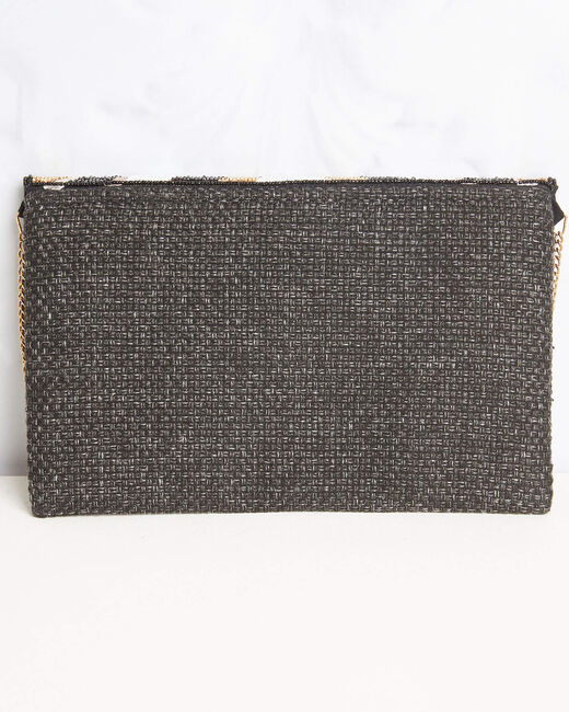 Deborah embroidered straw-effect chain shoulder bag with beading (2) - 1-2-3