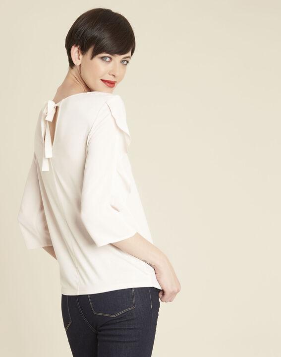 Nude blouse uit twee materialen met volants Cleo (4) - 37653