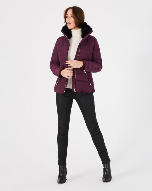 Laure short blackcurrant puffer jacket (2) - 1-2-3