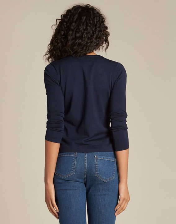 Nora embroidered navy blue cardigan (4) - 1-2-3