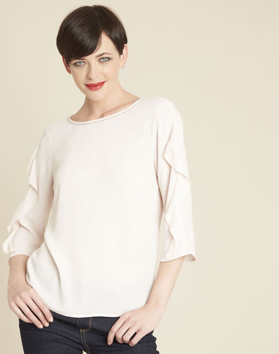 Cleo nude dual-fabric blouse with frilled detailing PhotoZ | 1-2-3