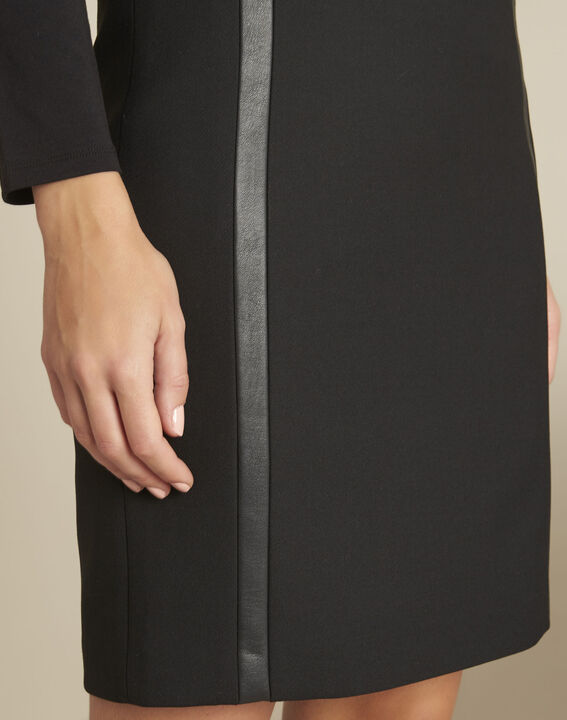 Anna black straight-cut skirt with faux leather detailing (3) - 1-2-3