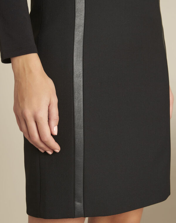 Anna black straight-cut skirt with faux leather detailing (2) - 1-2-3
