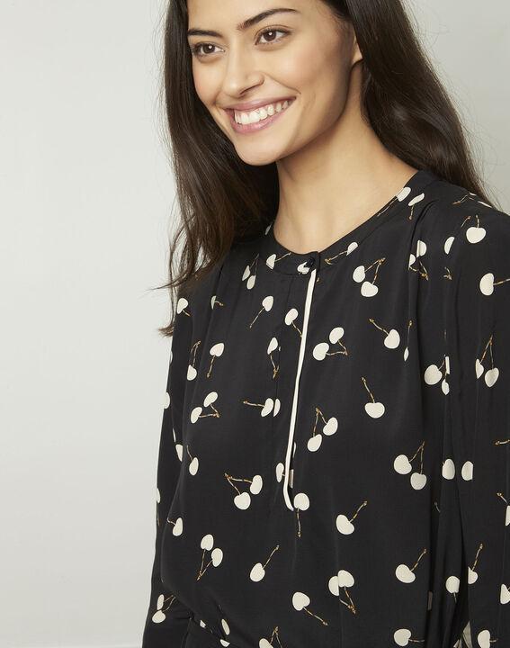 Schwarzes Kleid mit Kirschmuster, aus Viskose Linda (4) - Maison 123