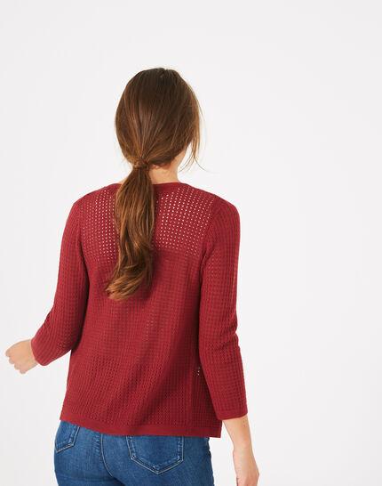 Palissade burgundy cardigan in an openwork knit (5) - 1-2-3