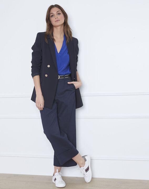 Blauwe blouse met soepele V-hals Viriginie (2) - Maison 123