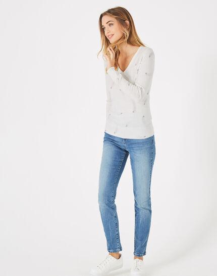Pénélope off-white V-neck sweater with star print (1) - 1-2-3