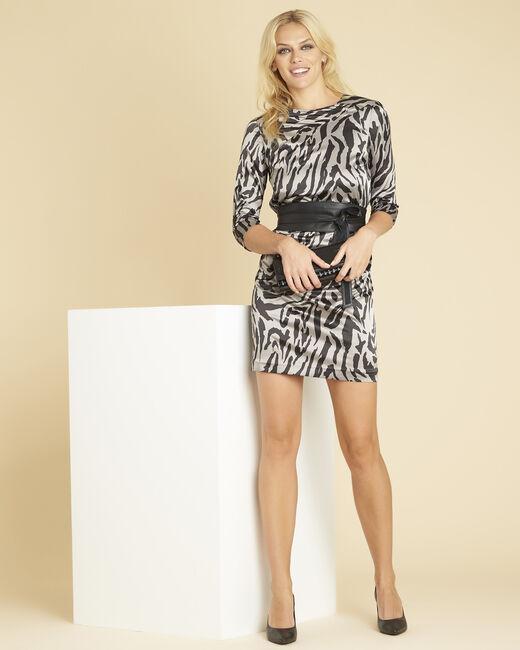 Grijze jurk met dierenprint Diandra (2) - 37653