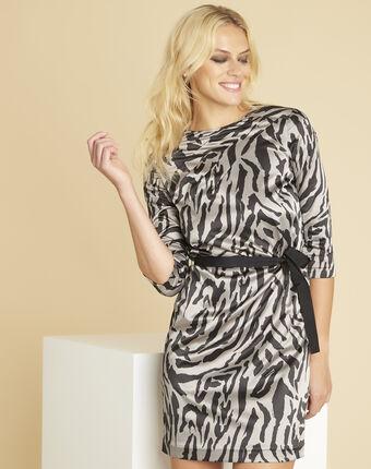 Grijze jurk met dierenprint diandra chine moyen.