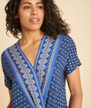 Galix blue printed top with crossover neckline PhotoZ | 1-2-3
