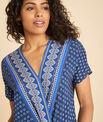 Galix blue printed top with crossover neckline PhotoZ | 1-2-3