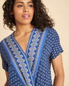 Galix blue printed top with crossover neckline (1) - 1-2-3