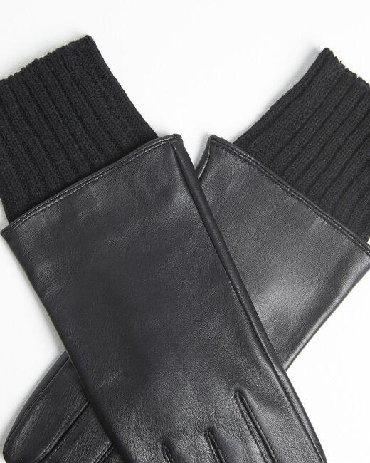 Gants noirs en cuir poignet en laine Urio (2) - 37653