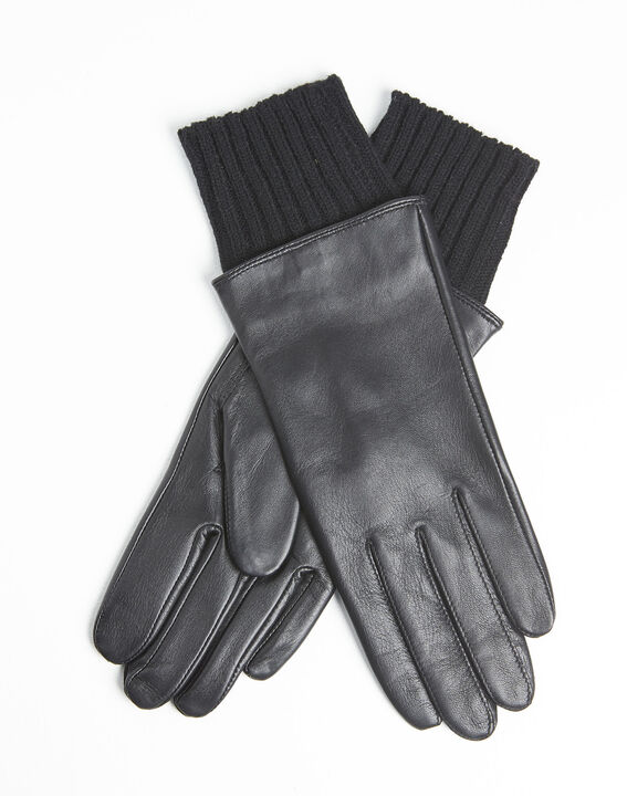 Urio black leather gloves with wool cuff (1) - Maison 123