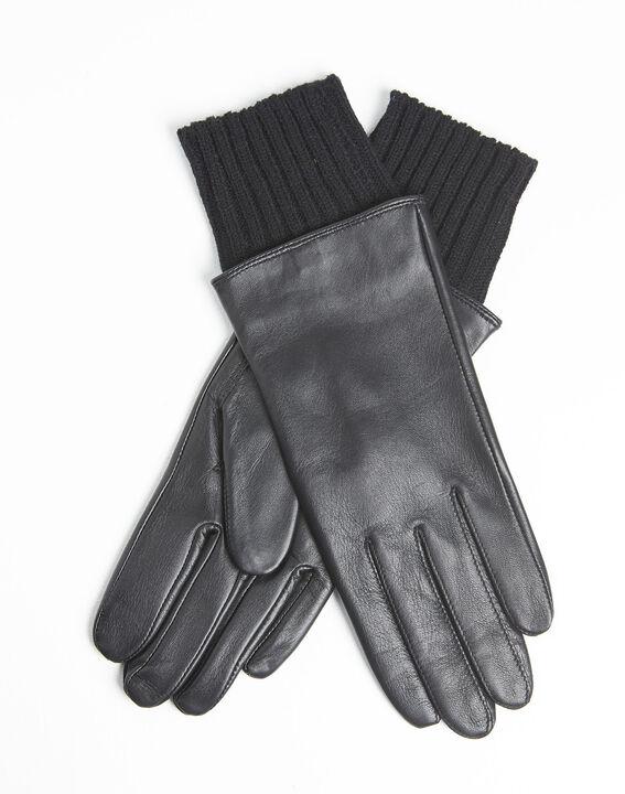Gants noirs en cuir poignet en laine Urio PhotoZ | 1-2-3