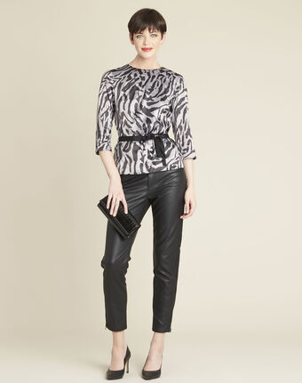Camomille anthracite zebra print blouse dark grey.