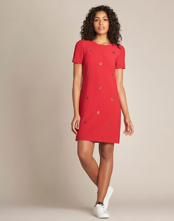 Adelie red straight-cut dress with eyelets red.