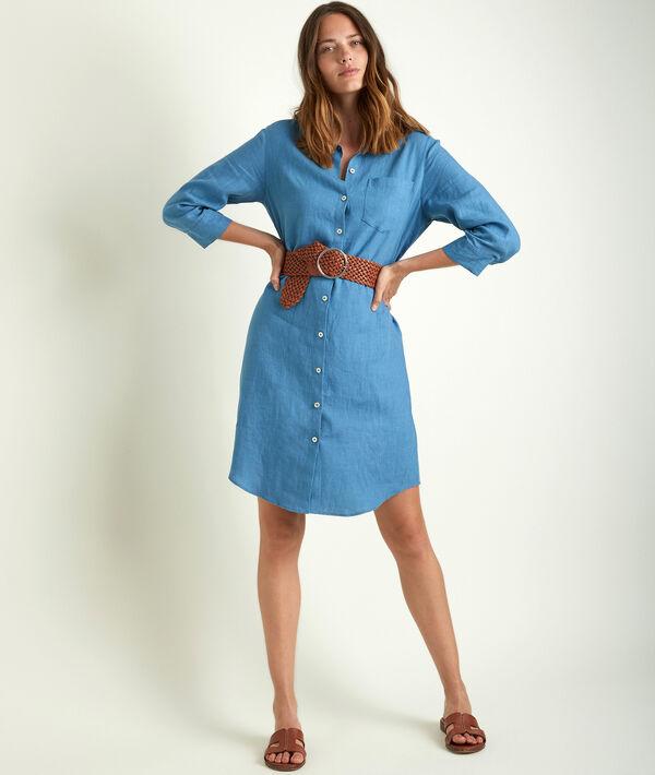 Robe chemise en lin lavande Céline PhotoZ | 1-2-3