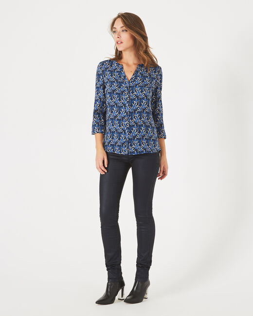Arletty royal blue printed blouse with granddad collar (1) - 1-2-3