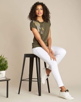Epine khaki t-shirt with feather embroidery kaki.