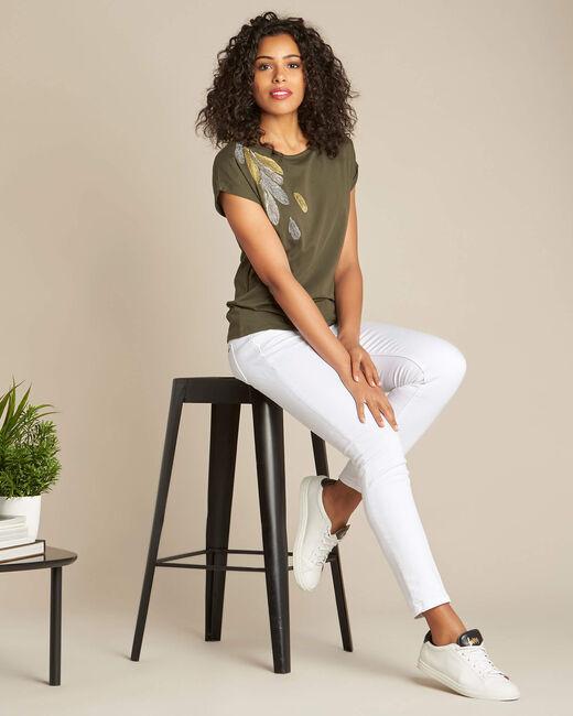 T-shirt kaki broderie plume Epine (1) - 1-2-3