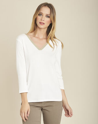 Galvani ecru t-shirt with shiny neckline and 3/4 length sleeves ecru.
