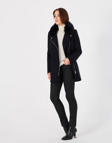 Oryanne navy wool-blend coat with fur collar (2) - 1-2-3