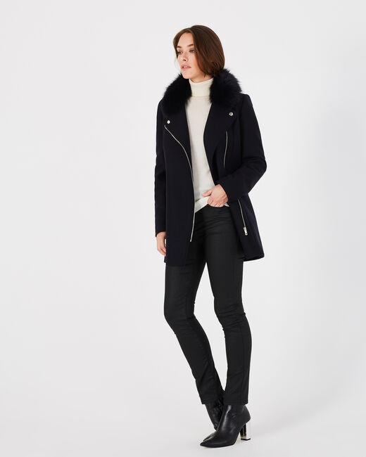 Manteau marine en laine mélangée col fourrure Oryanne (1) - 1-2-3
