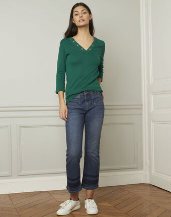 Tee-shirt vert encolure v à oeillets basic emerald.