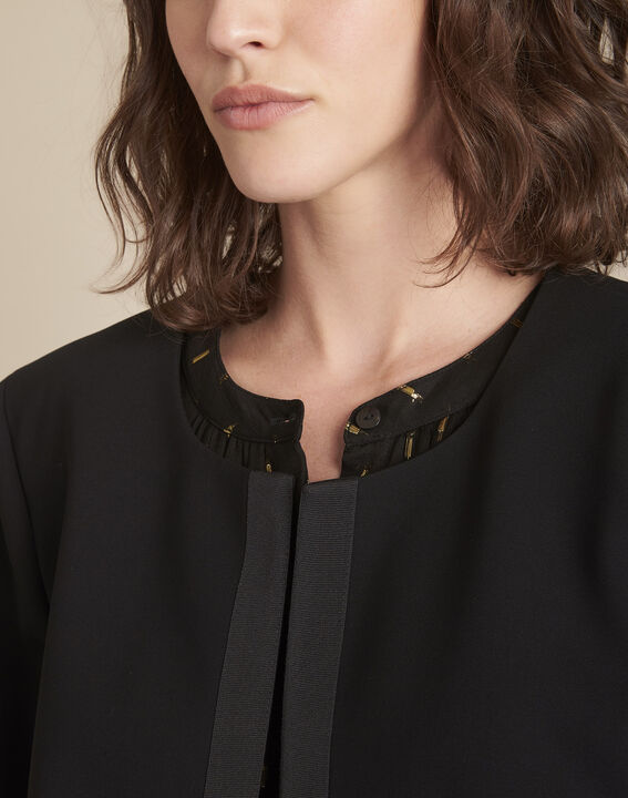 Charme black microfibre and grosgrain jacket (3) - 1-2-3