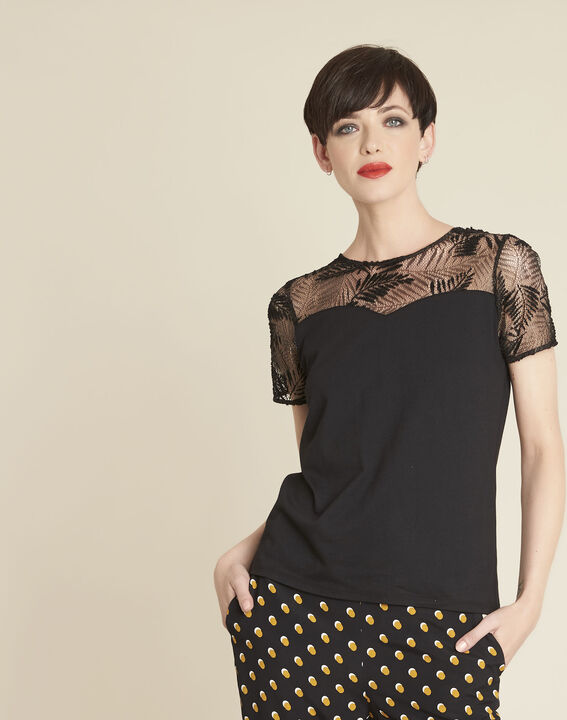 Glamour black T-Shirt with lace at the neckline (1) - 1-2-3