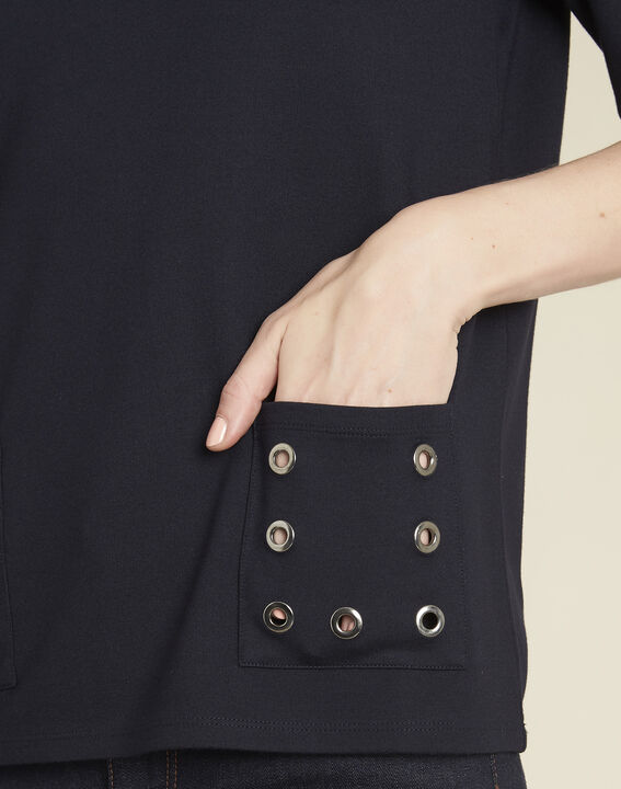 Goeland navy blue T-shirt with eyelet detailing on the pockets (3) - 1-2-3