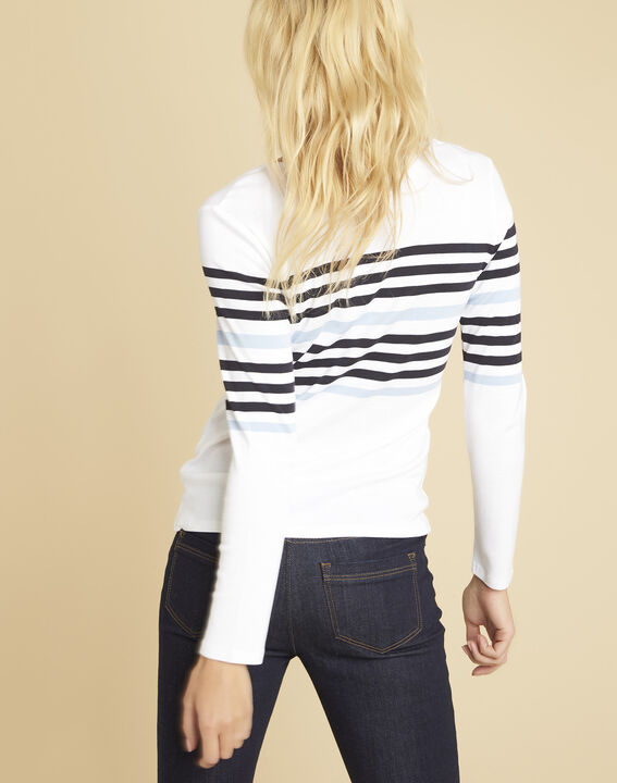 Gayure white striped T-shirt with V-neckline (4) - Maison 123