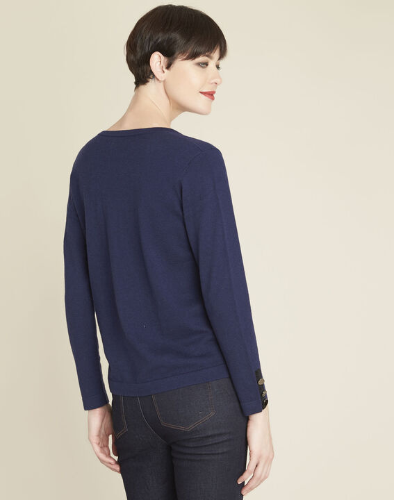 Beth navy cotton mix pullover with narrow V-neckline (4) - 1-2-3