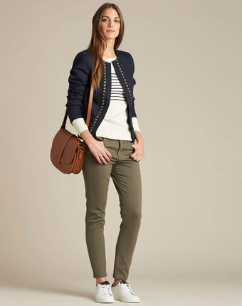 Cerise short navy jacket with guipure and eyelet detailing marine.