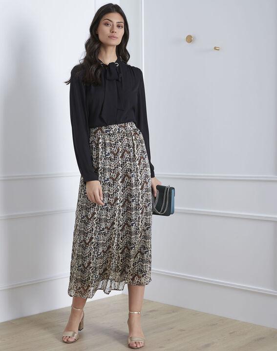 Jupe noire longue imprimée Safary (1) - Maison 123