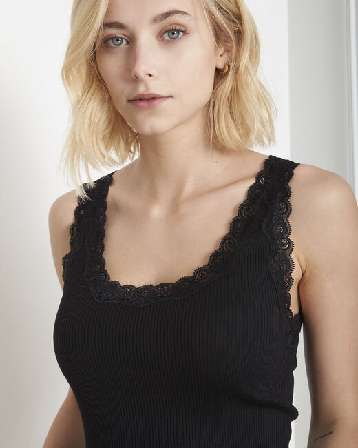 Guest black vest top in cotton and silk with lace neckline (2) - 1-2-3