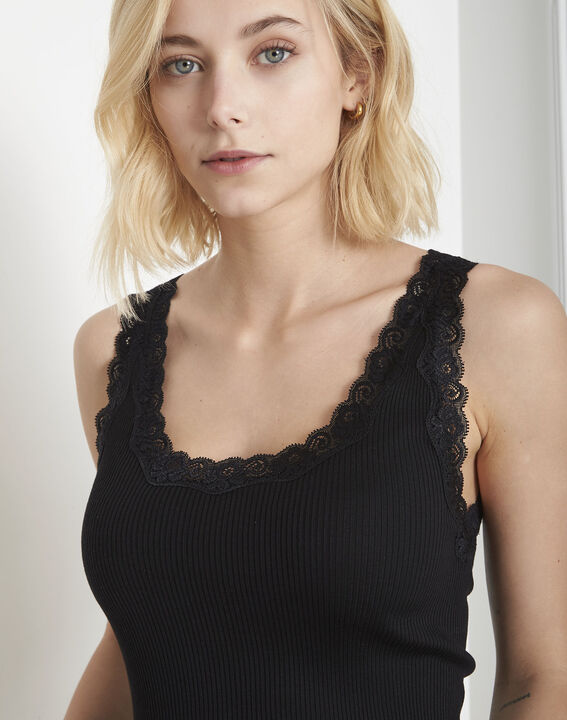 Guest black vest top in cotton and silk with lace neckline (3) - 1-2-3