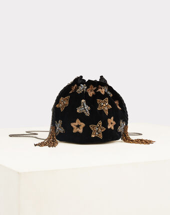 Pochette noire en velours à strass et perles rêve noir.